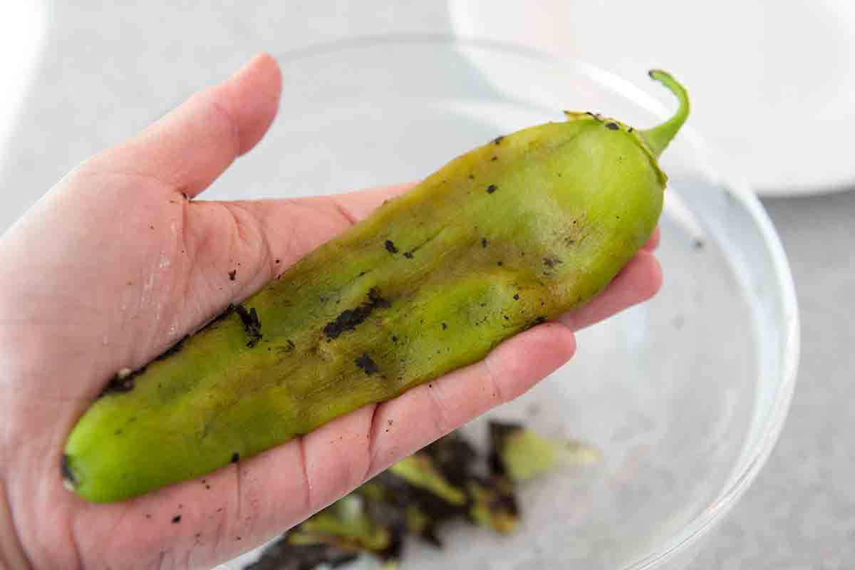 green chile removed of blackened peel