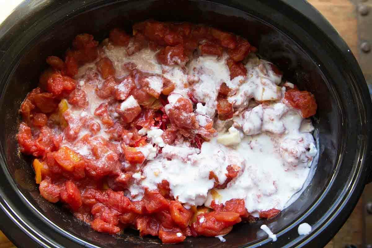 tomatoes and coconut milk in the slow cooker for chickpea curry
