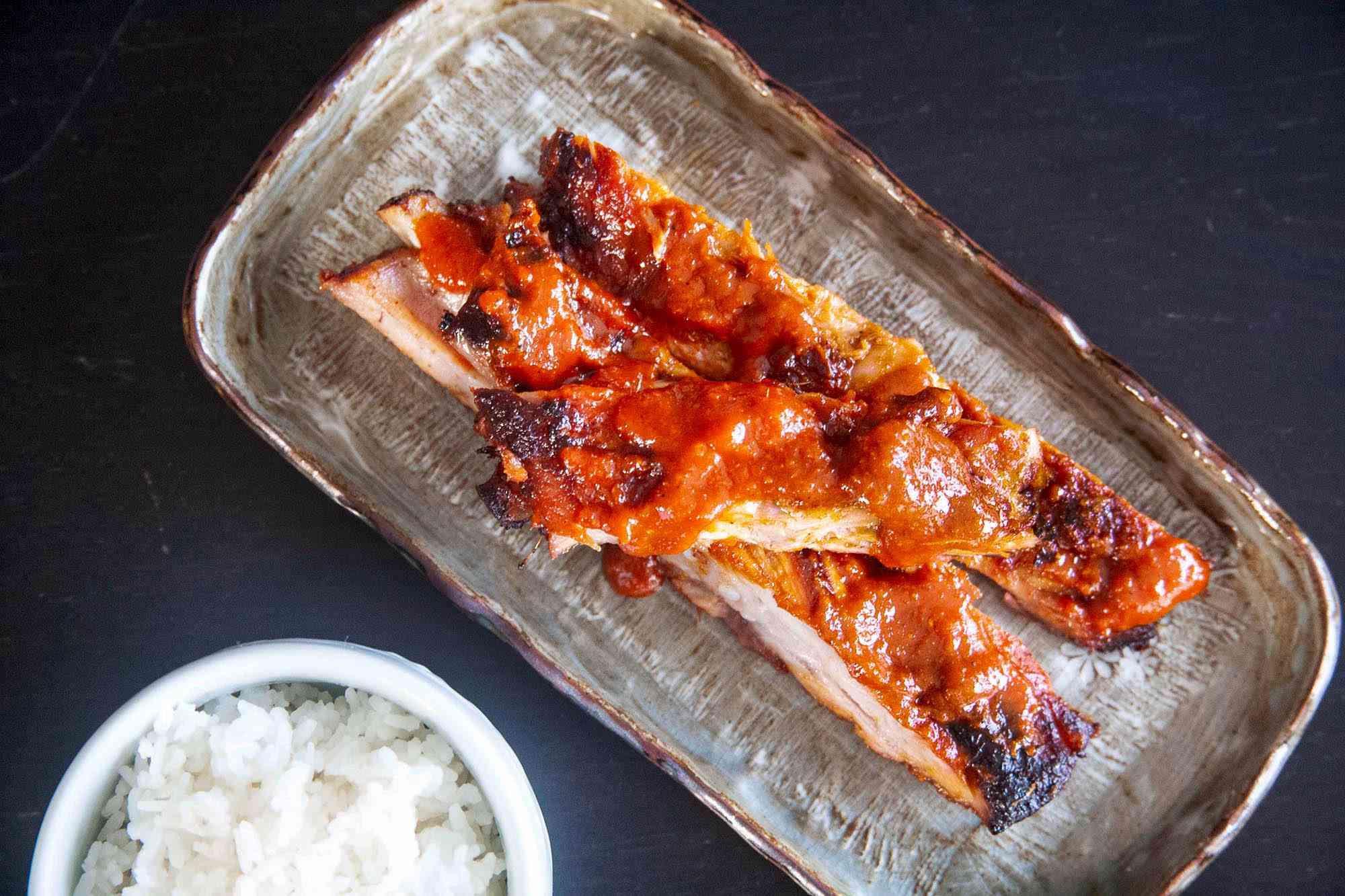 Easy Korean Pork Ribs sliced and on a platter.