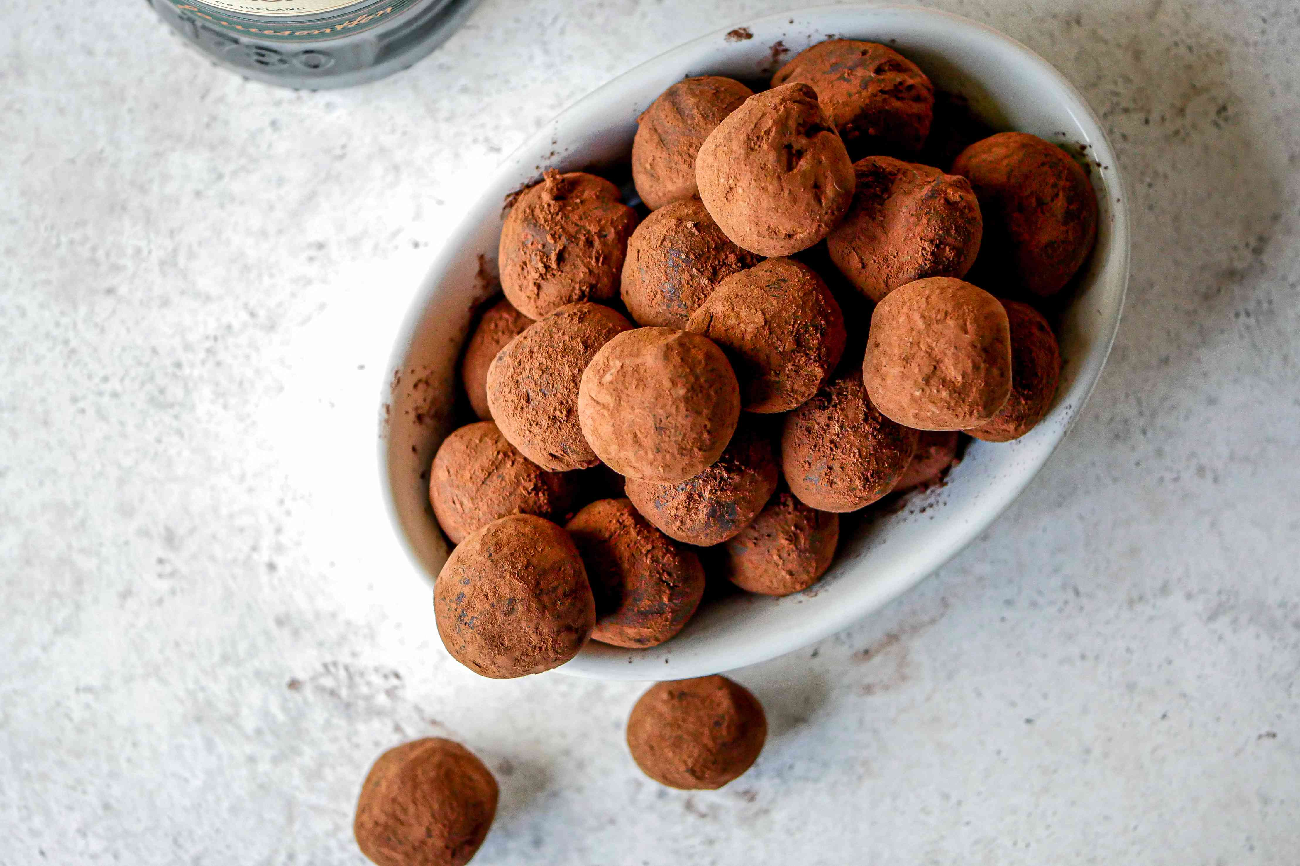 Whiskey Chocolate Truffles rolled in cocoa.