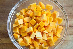 cut and prepped butternut squash