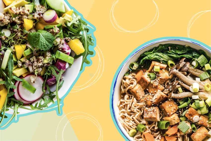 Photo composite of a large vegetable salad, and a noodle dish