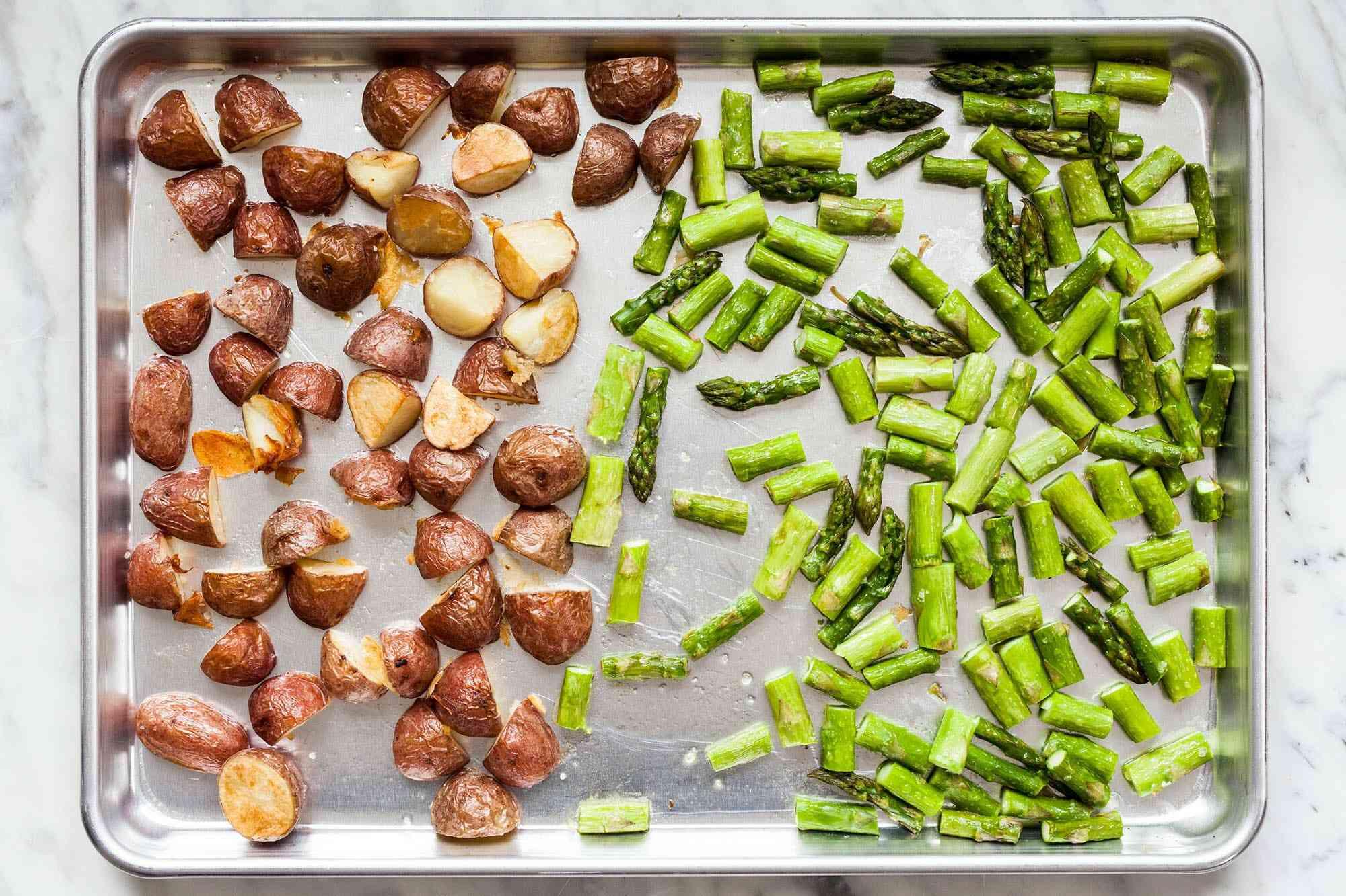 Potatoes and Asparagus Recipe roast the potatoes and asparagus