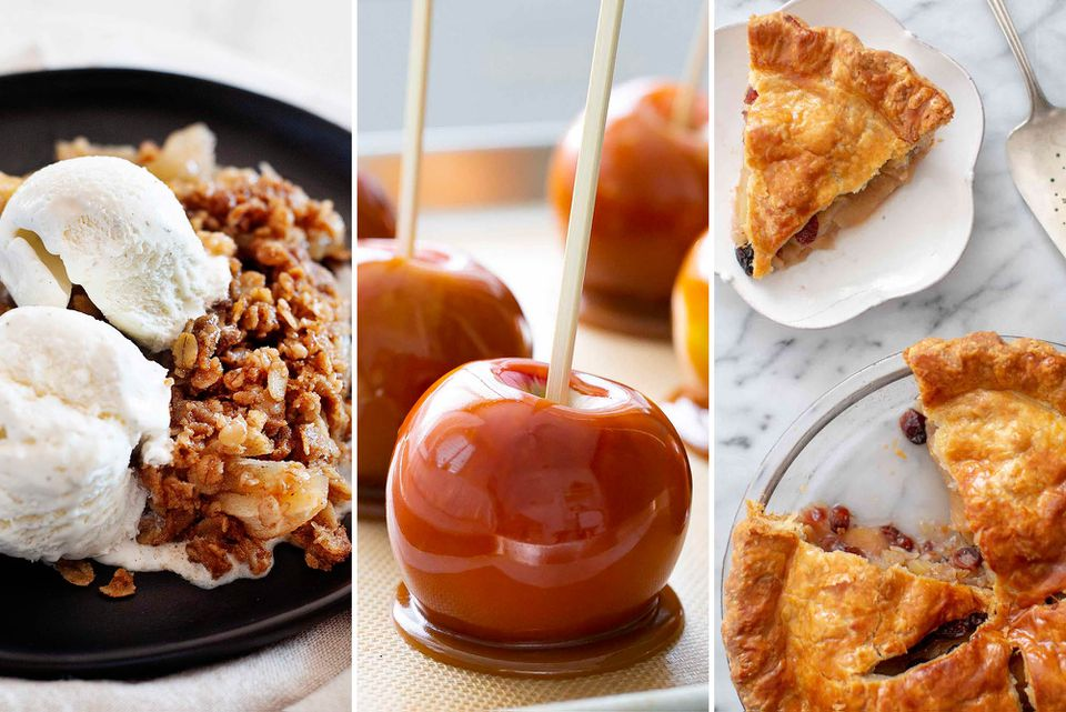 Three photos set side by side. On the left is a black plate with apple crisp topped with vanilla ice cream. The middle image is caramel apples with caramel pooling on a baking sheet. The image to the right is an apple cranberry pie with a slice removed and put on a plate.