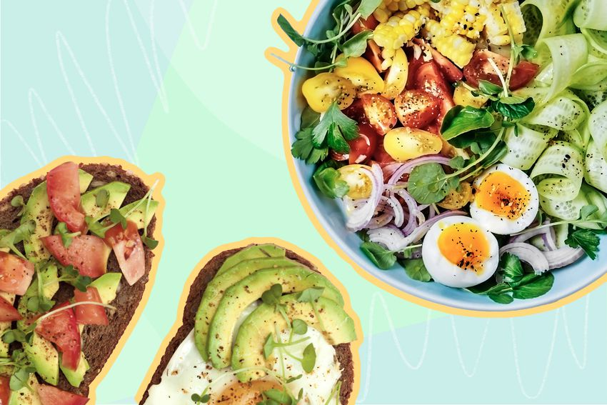Photo composite of toast topped with vegetables and a colorful salad