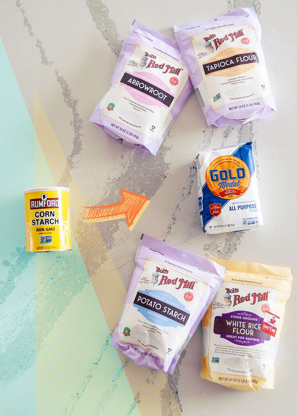 5 Cornstarch Substitutes set on a colorful background.