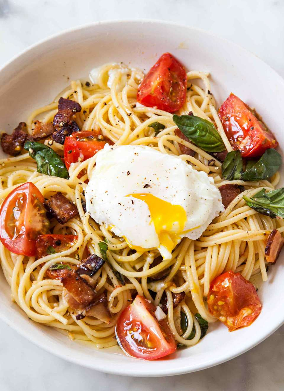 Spaghetti Bacon Tomatoes Eggs