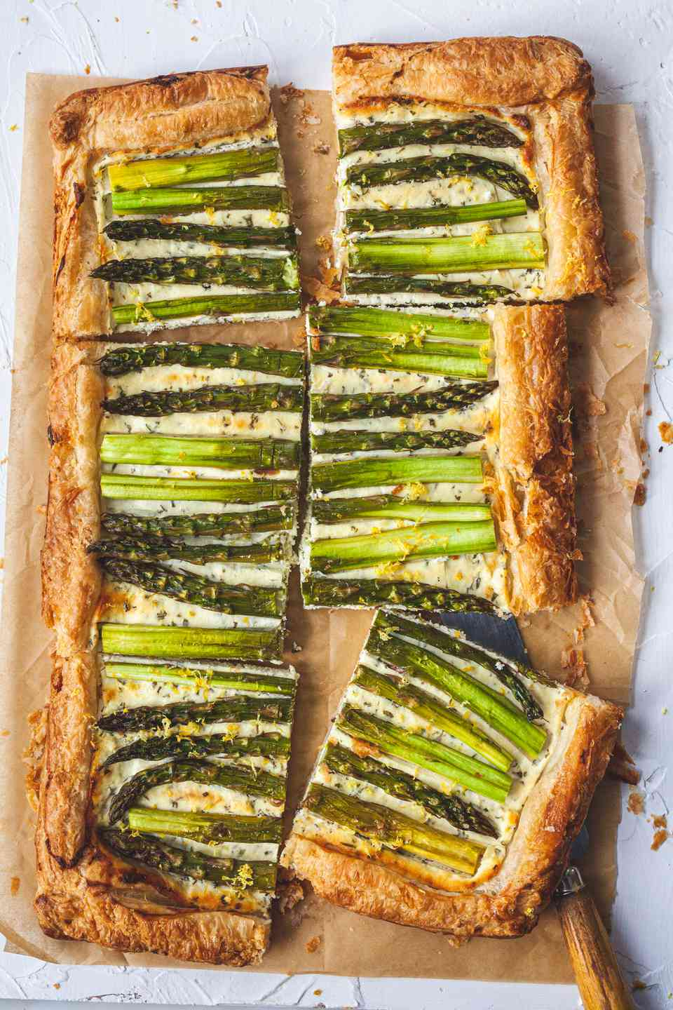Asparagus Tart with Goat Cheese and Lemon cut into six servings.