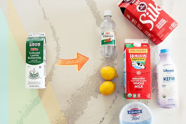 5 Buttermilk Substitutes laid on a colorful background.