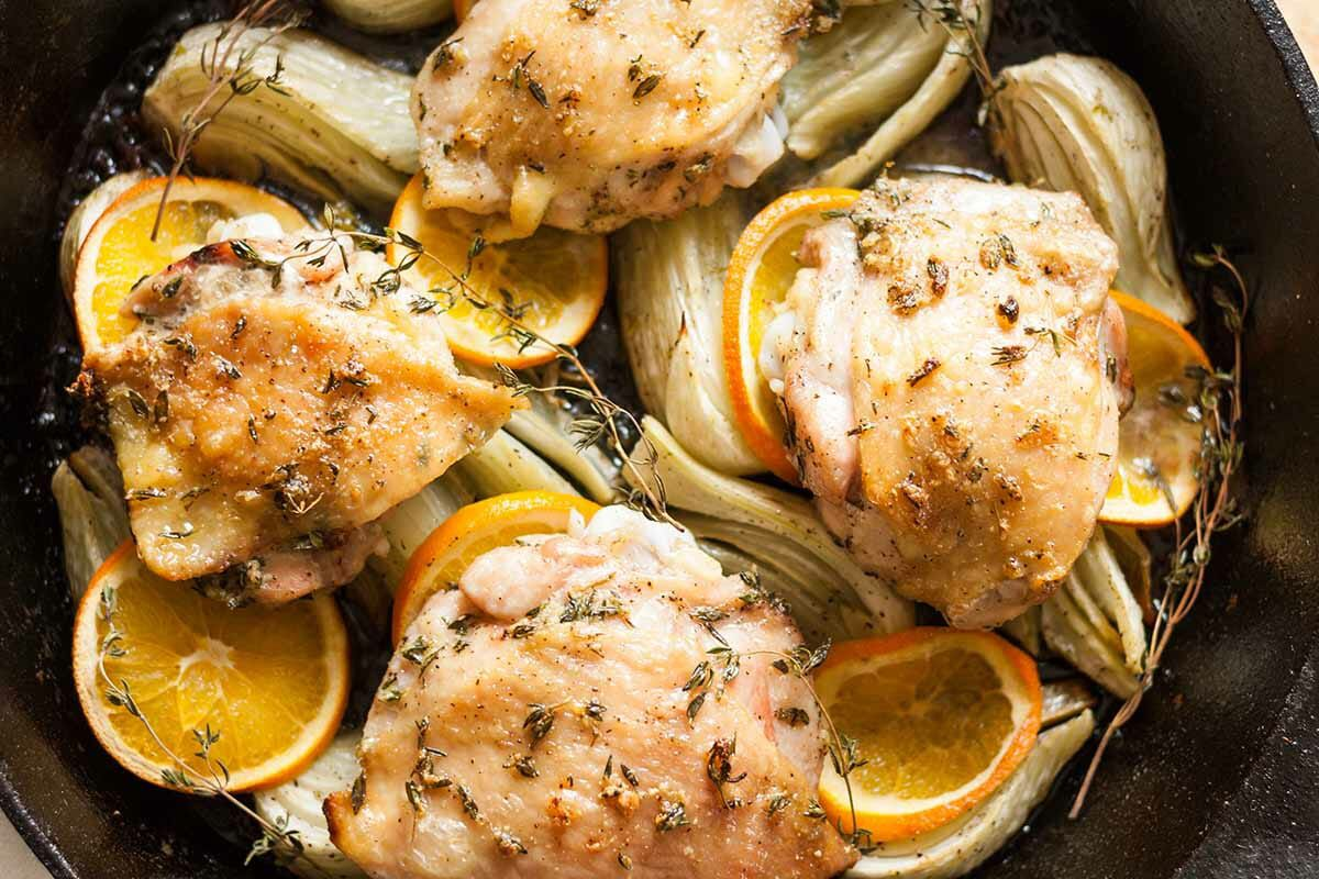 Roast Chicken Thighs with Fennel and Orange
