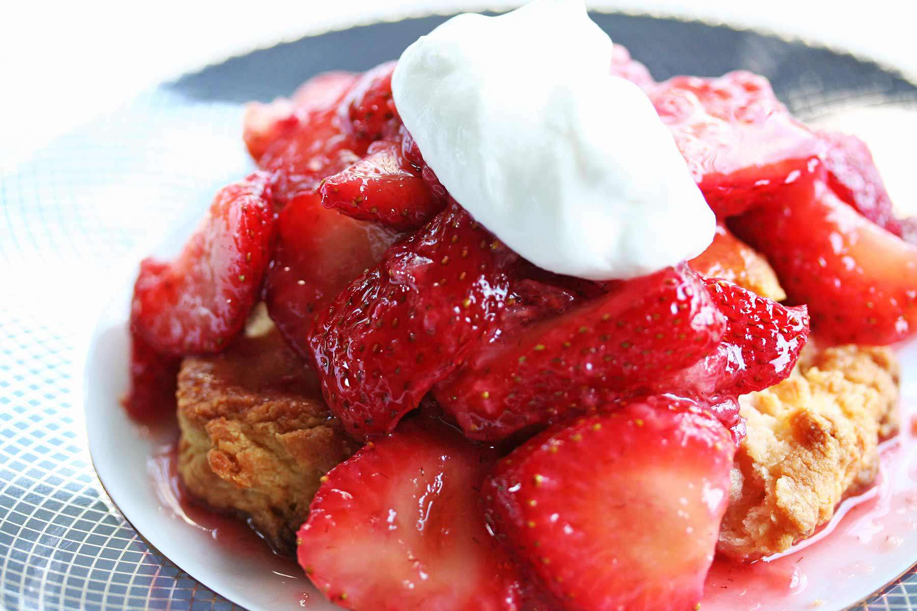 homemade strawberry shortcake on biscuit