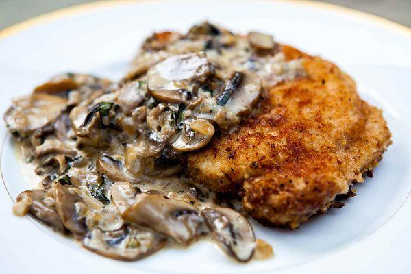 Pork Chops with Mushroom Bourbon Sauce