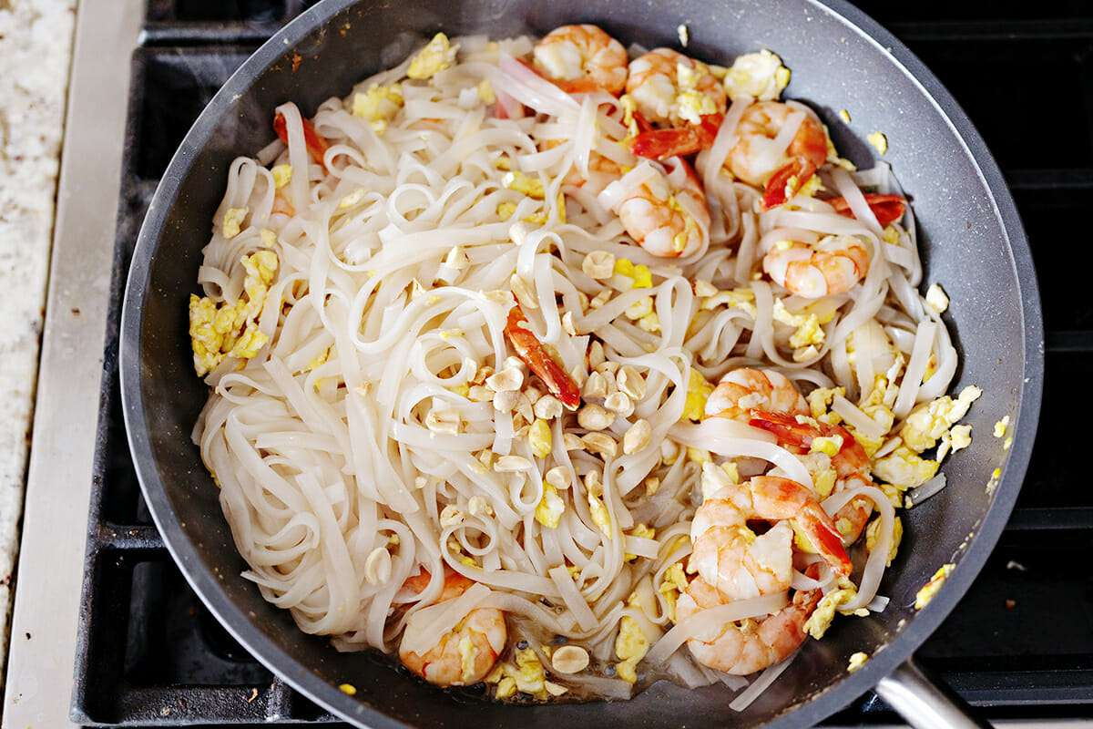 Shrimp Pad Thai Recipe add the peanuts