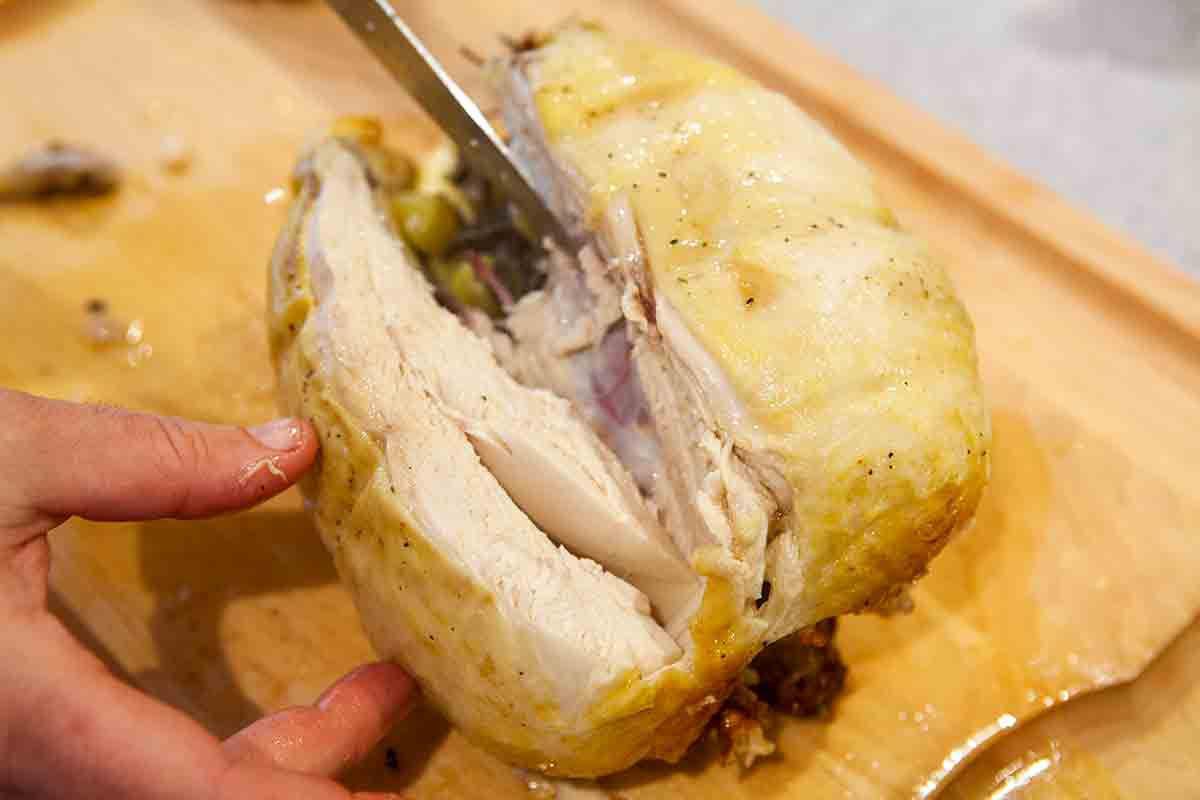 pull chicken breast away from breast bone