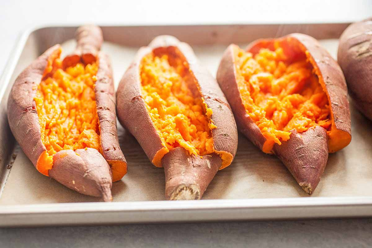 Twice Baked Sweet Potatoes with Cheese split open the potatoes