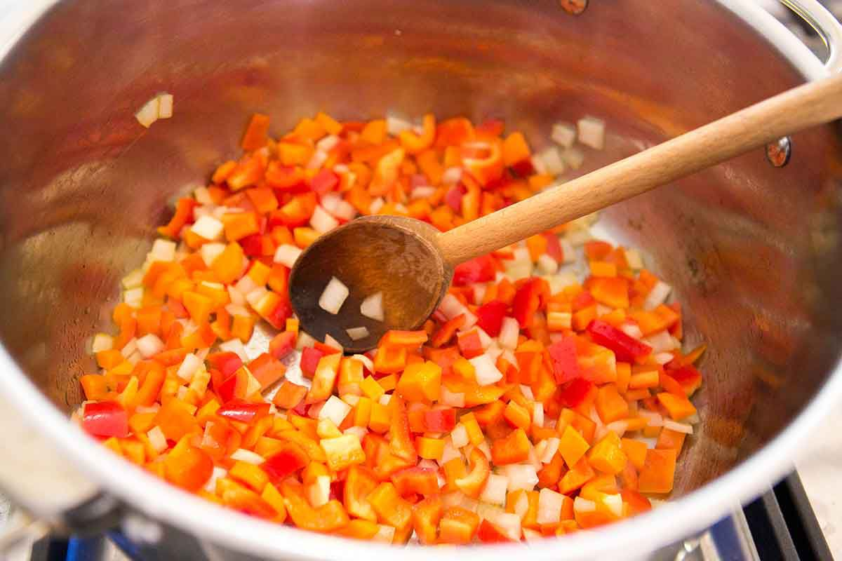 Raw carrots, onions, bell peppers for Black Bean Turkey Chili