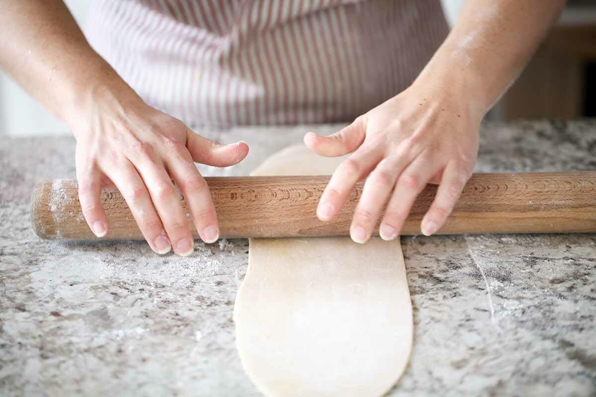 Homemade Pasta Dough no Pasta Machine rolling the pasta until paper thin