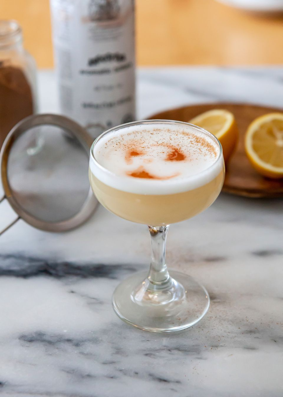 Side view of the perfect Pisco Sour.