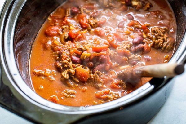 Tailgate Beef Chili Recipe in a crock pot.