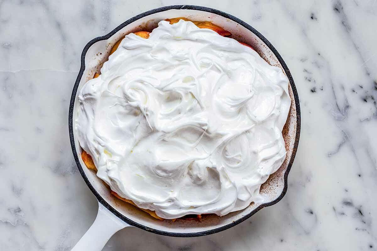 Peach Dessert with Meringue Recipe swirl the meringue on top