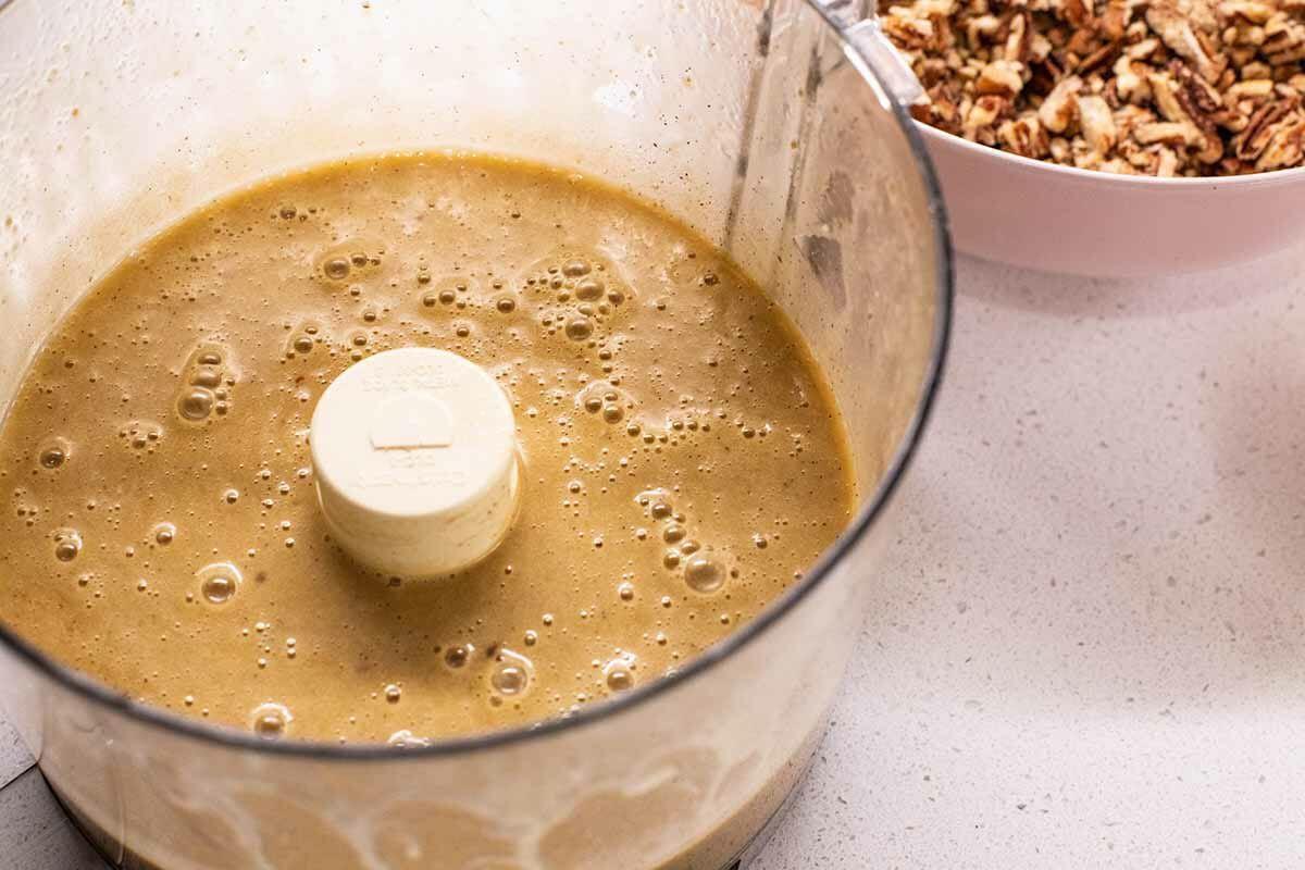 Pecan Pie Bars with Shortbread Crust combine the wet ingredients
