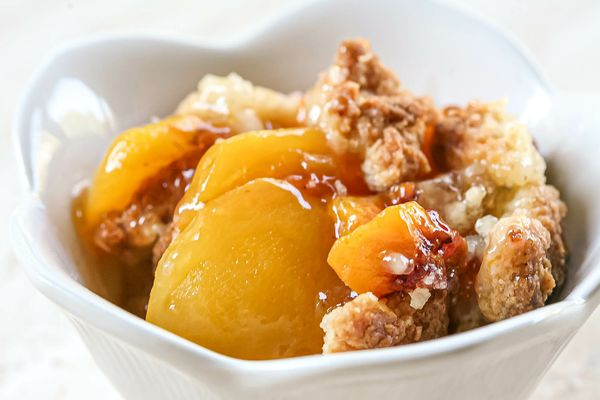 Easy peach cobbler served in a bowl