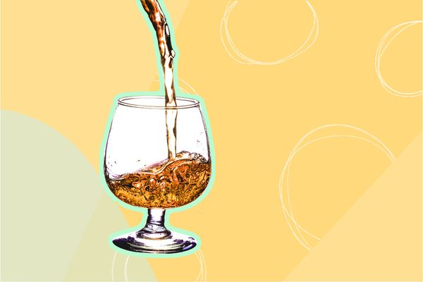 Photo composite of bourbon pouring into a glass.