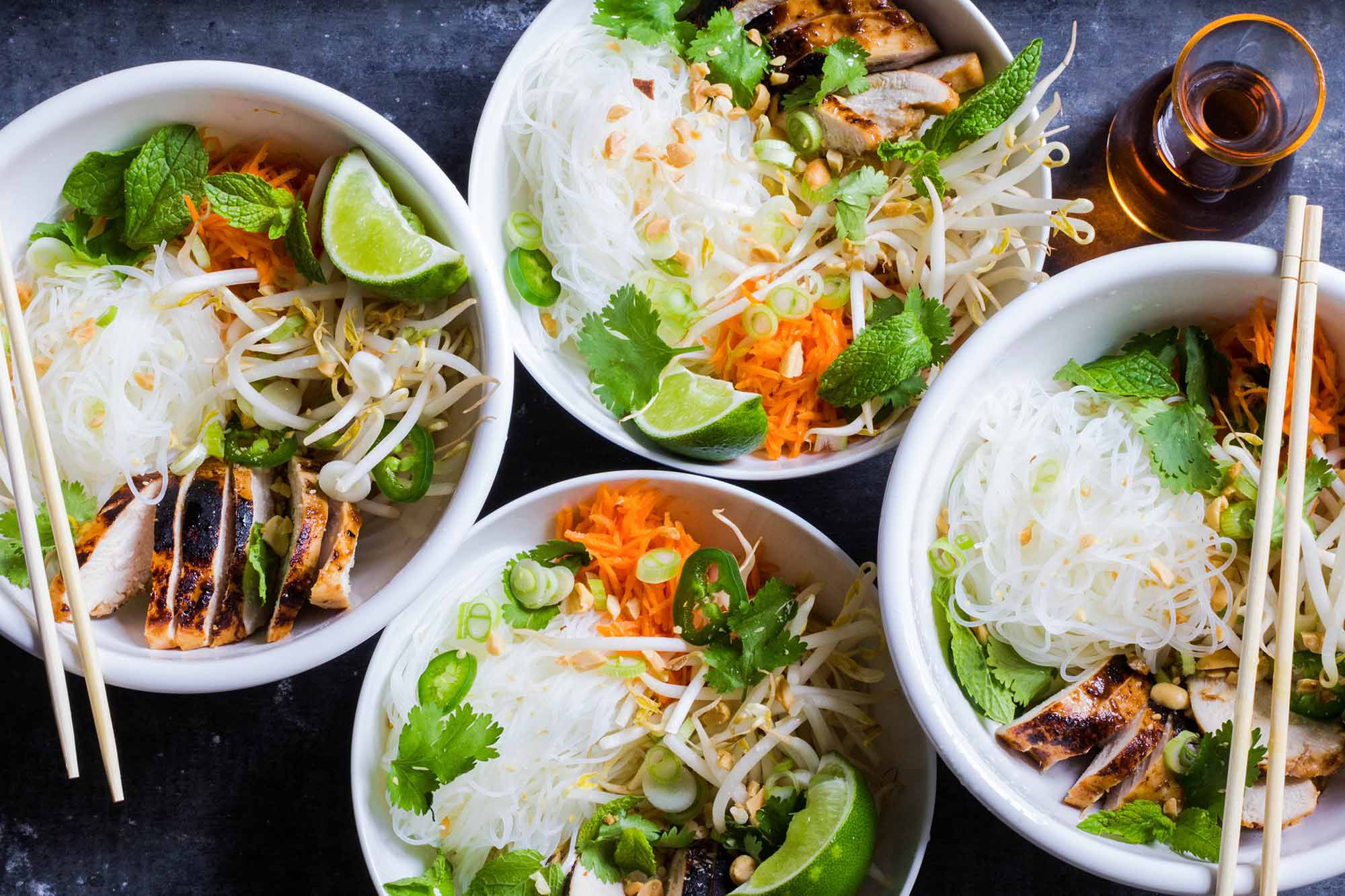 Vietnamese Style Noodle Bowls With Chicken Recipe