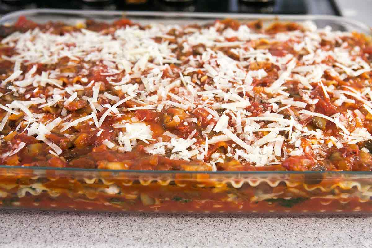Vegetarian lasagna ready to bake in oven