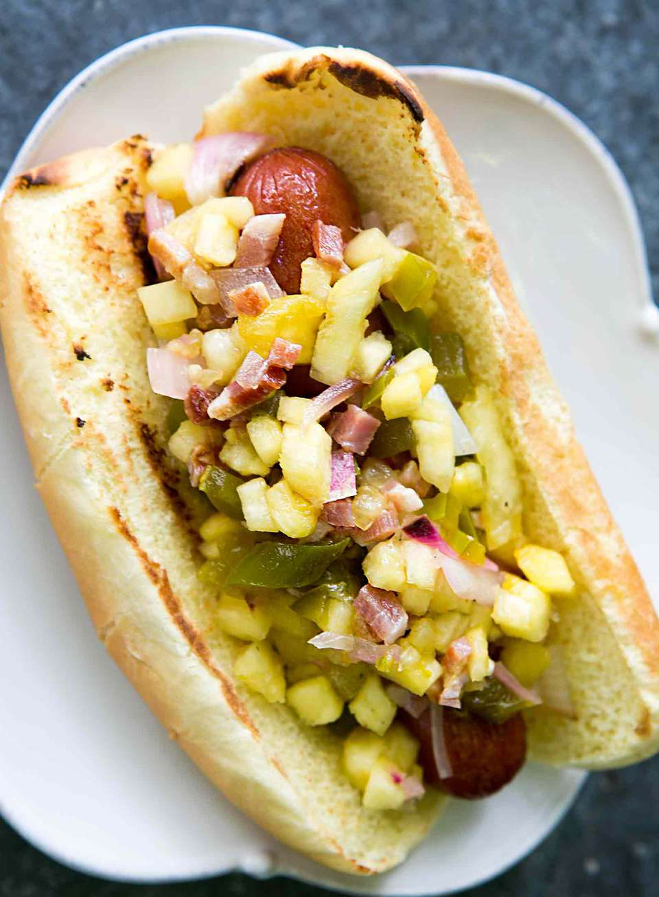 Hot Dog with Pineapple Bacon Relish