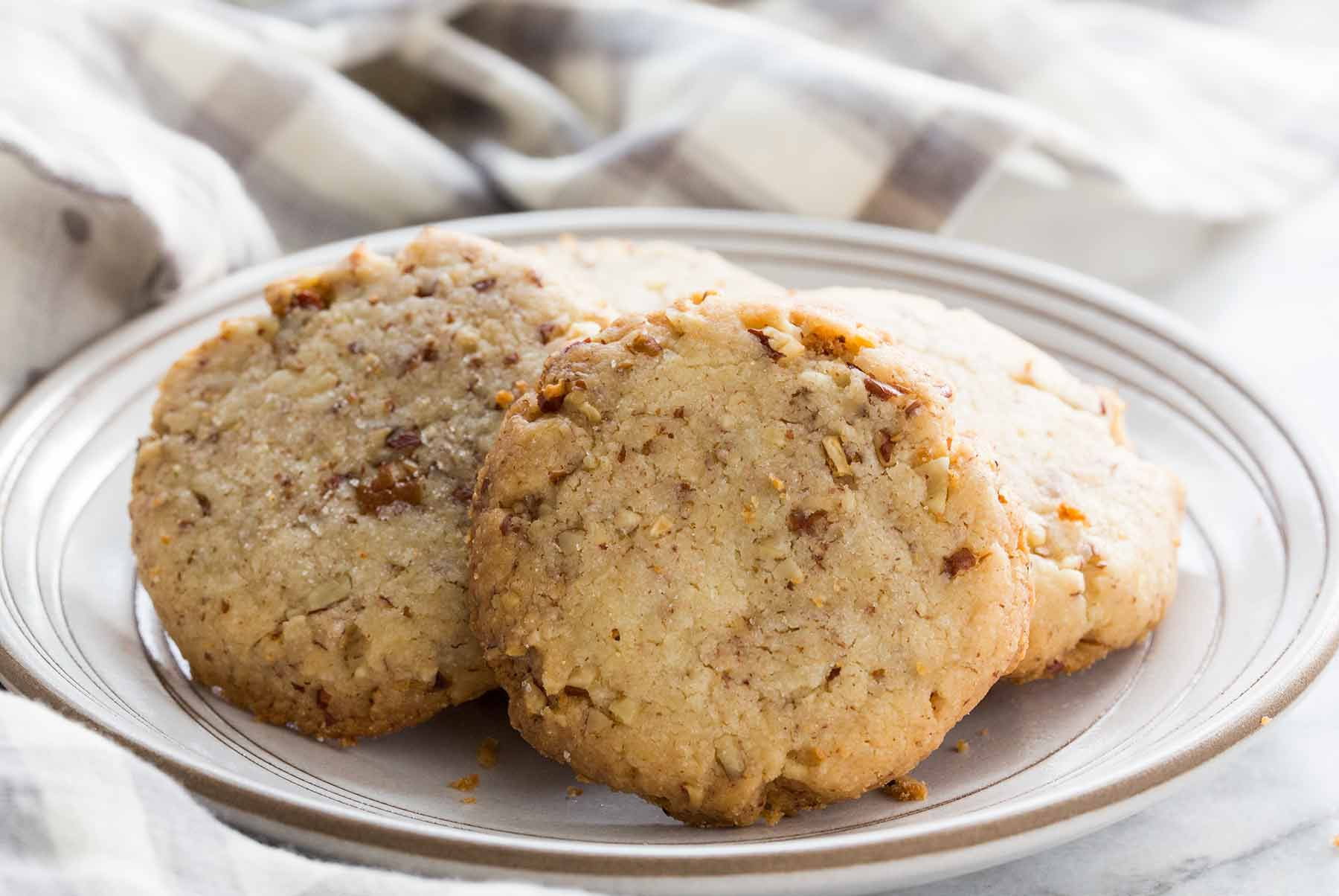 Butter Pecan Cookies Recipe served on a plate