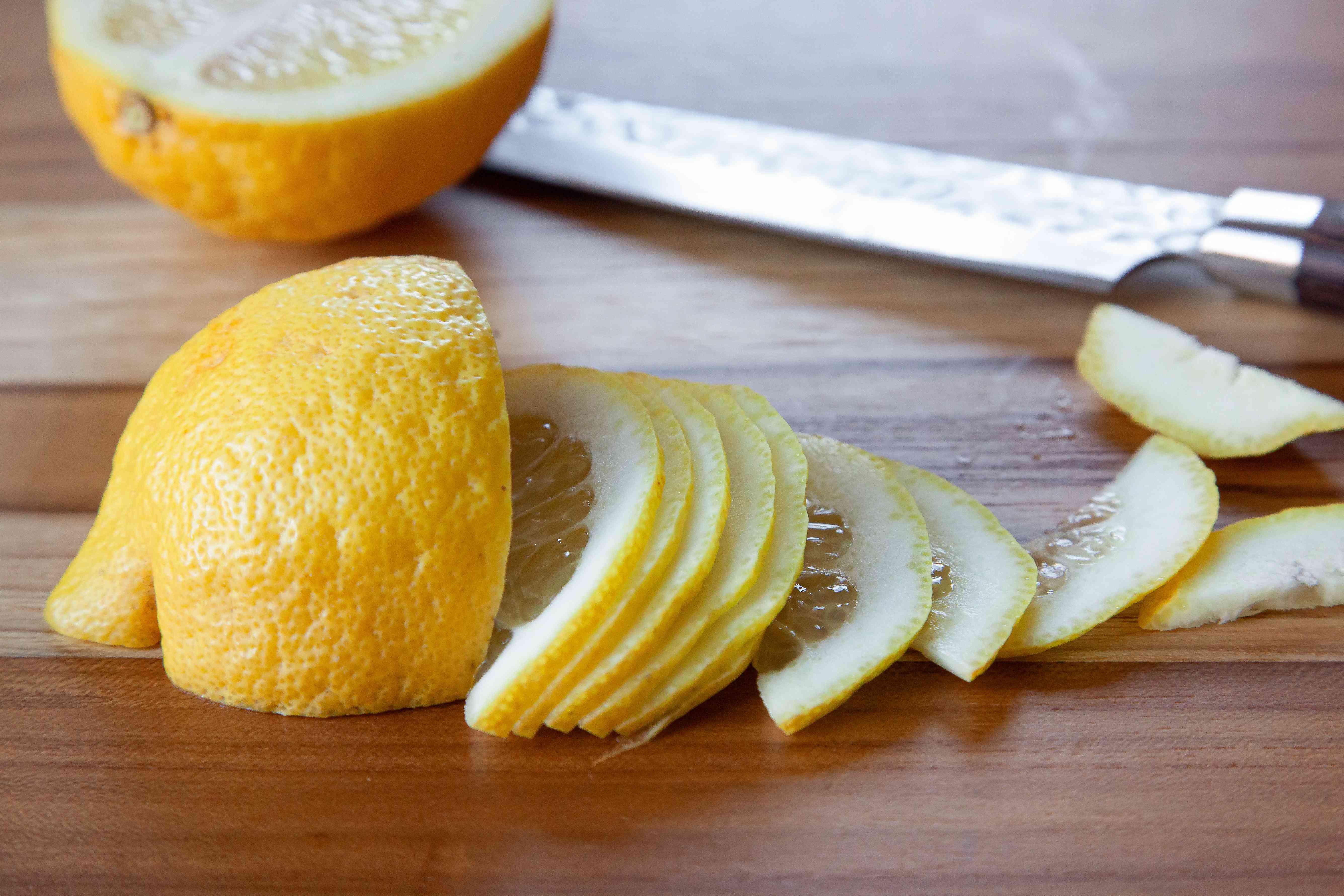 Sliced lemons to make Ohio Lemon Pie.