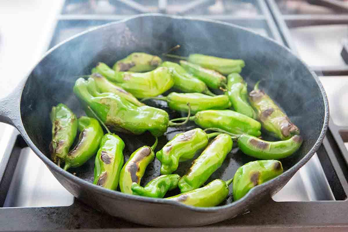sauté shishito peppers in frying pan