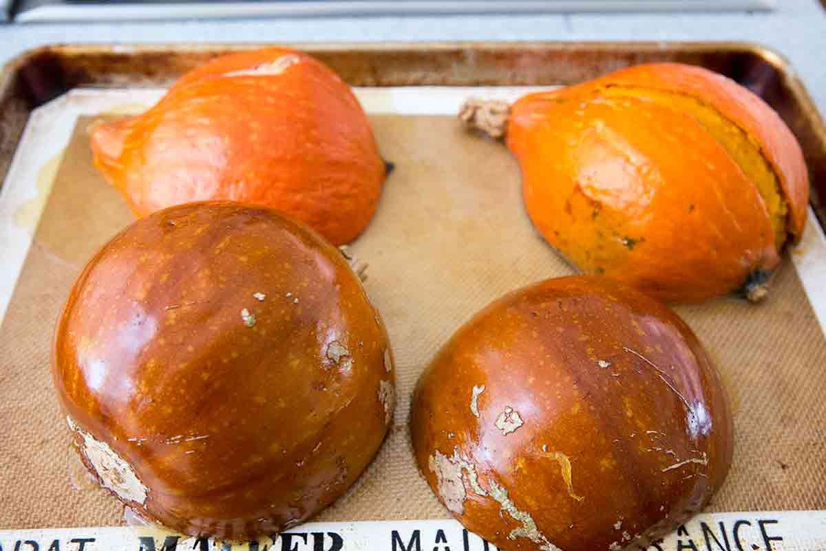 roasted sugar pumpkins and kabocha red kuri squash