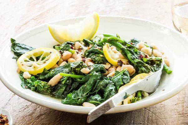 Lemon Broccoli Rabe with White Beans