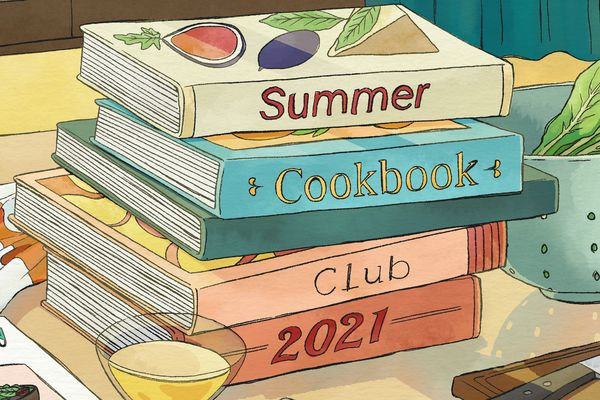 Summer Cookbook Club illustration cookbooks on countertop