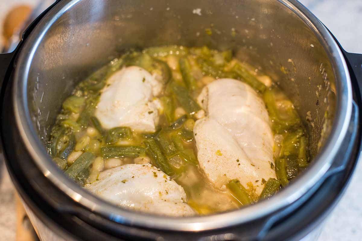 White bean chicken chili cook the chicken and veggies