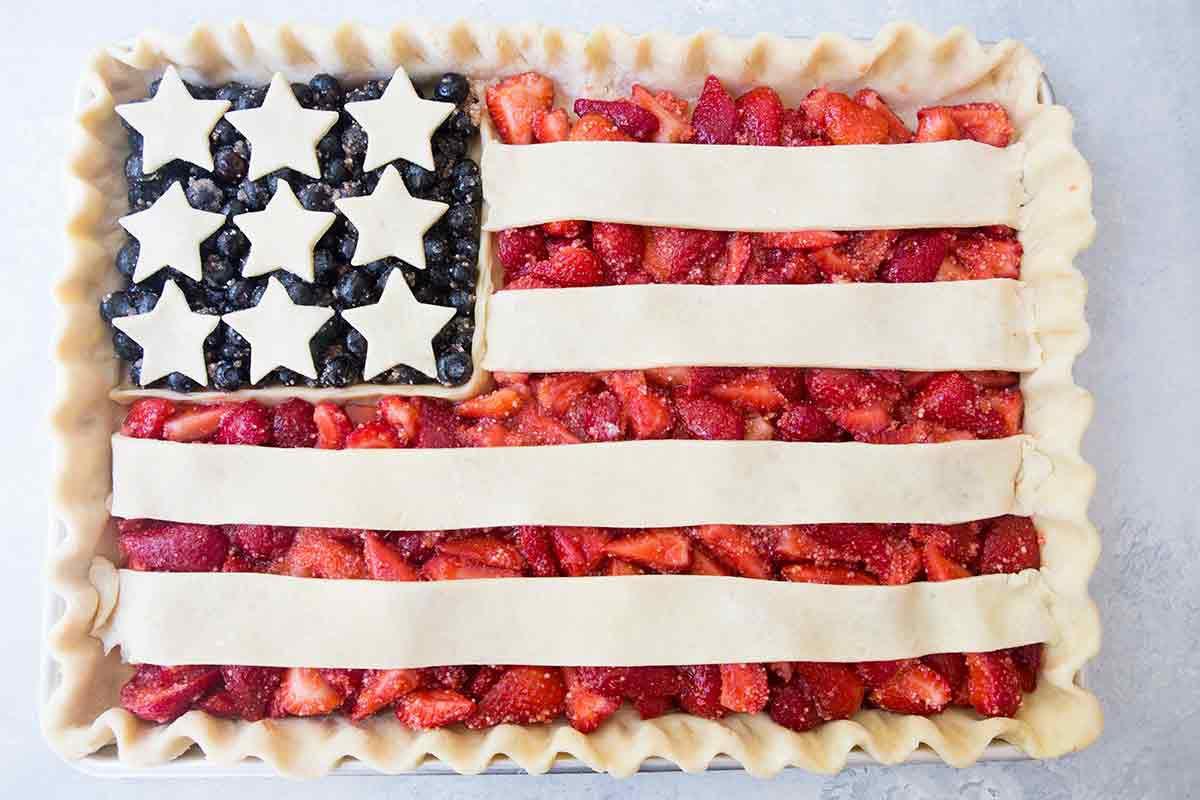 American flag pie in a sheet pan before baking