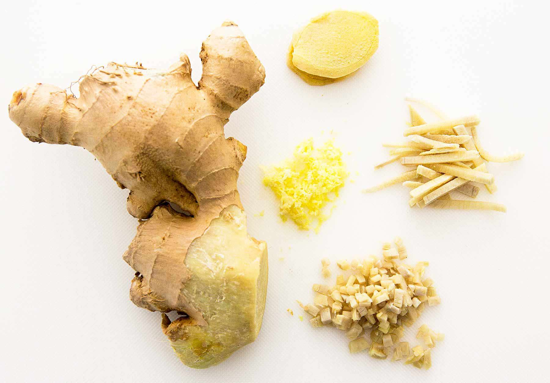 Ginger with different cut methods