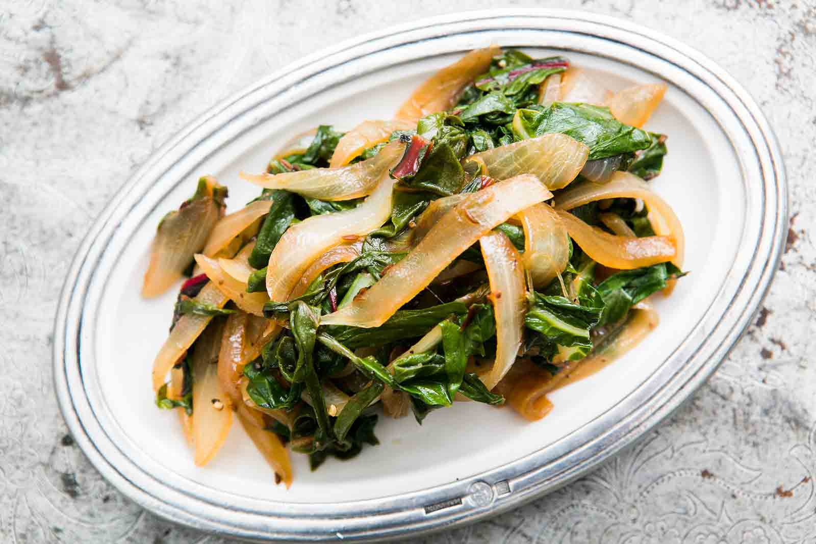 Sauteed Chard with Onions and Caraway