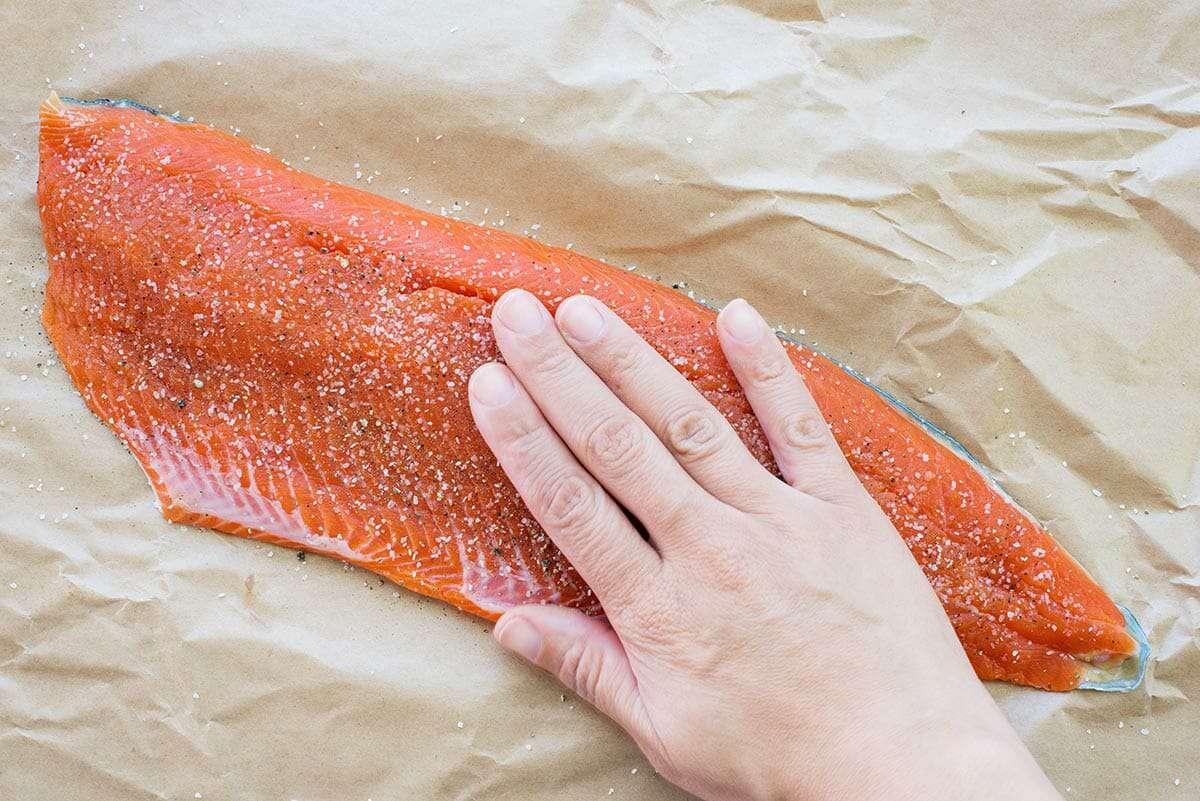 Angel Hair Pasta with Salmon Recipe salt the salmon