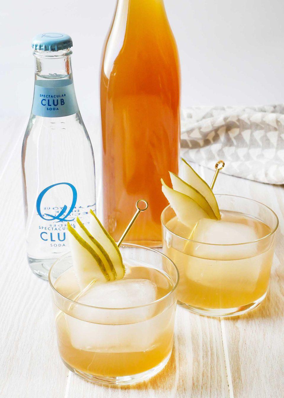 Pear ginger shrub mocktail drink