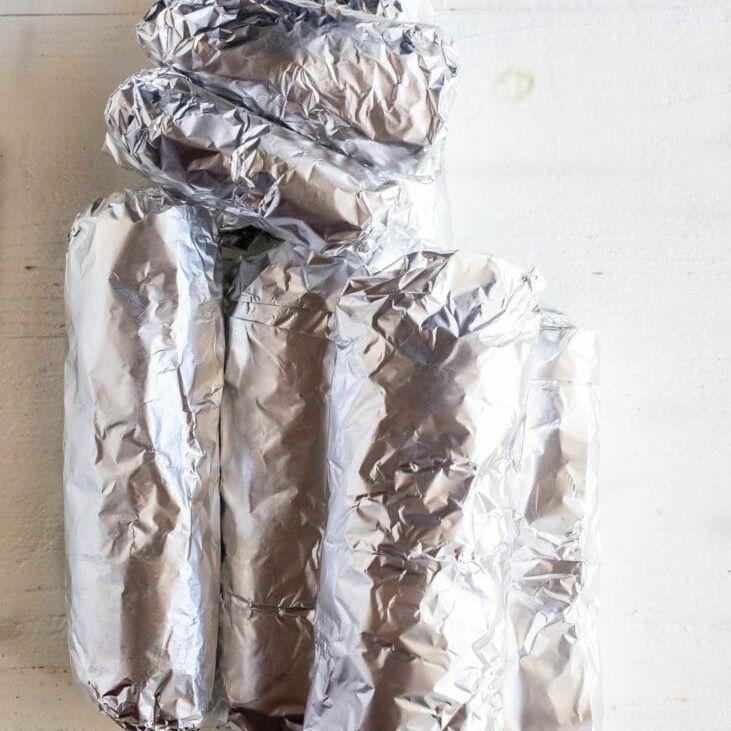 Wrap freezer burritos in aluminum foil