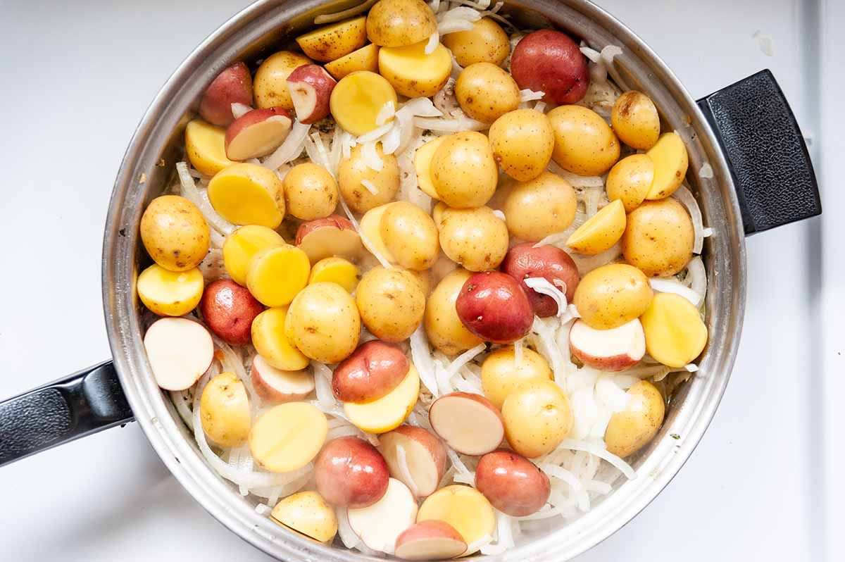 Herbes de Provence French -top down photograph of potatoes and onions in a skillet
