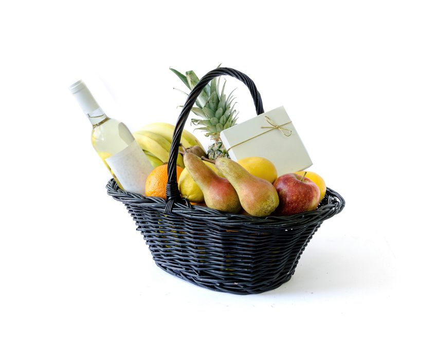 a gift basket with fruit and wine