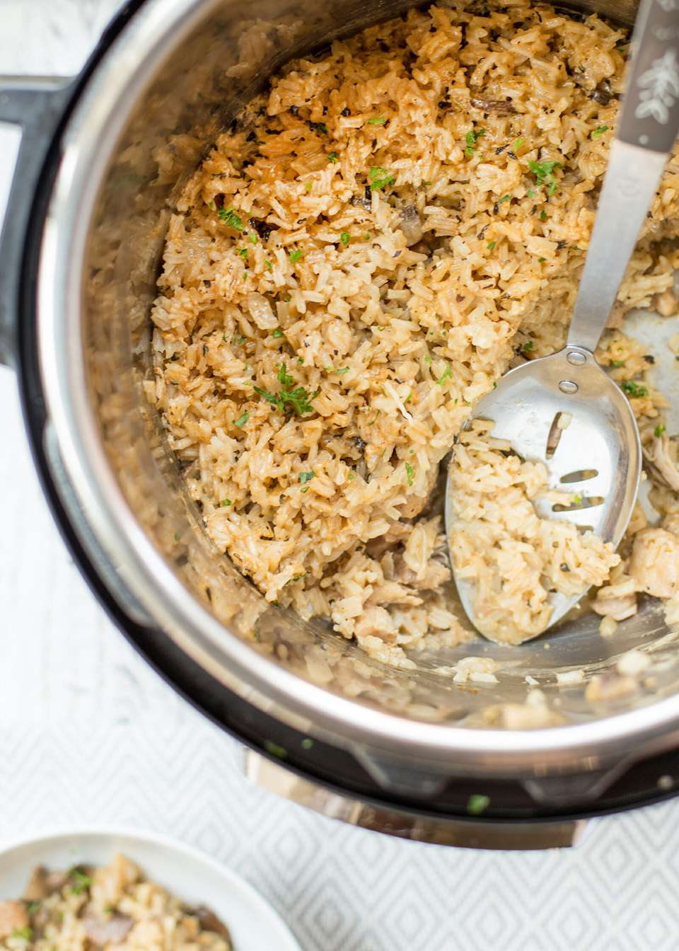 Easy chicken and rice made in an instant pot