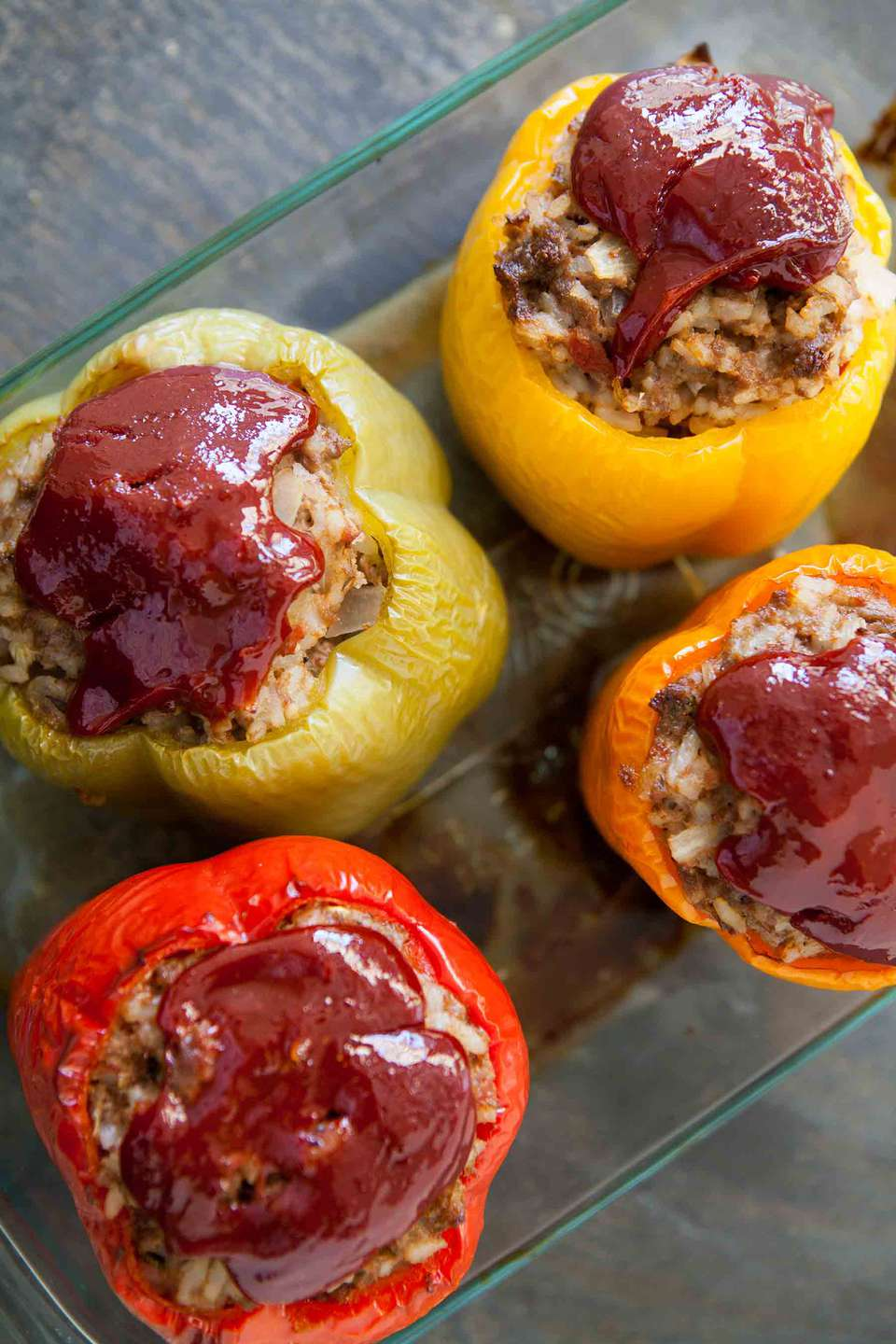 Best Ever Stuffed Bell Peppers baked in a casserole dish