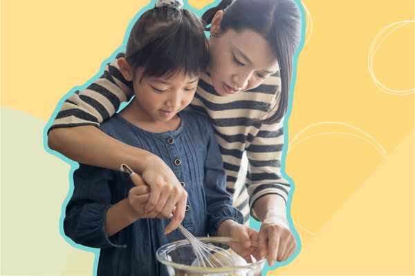 Photo composite of a woman and daughter whisking in a bowl.