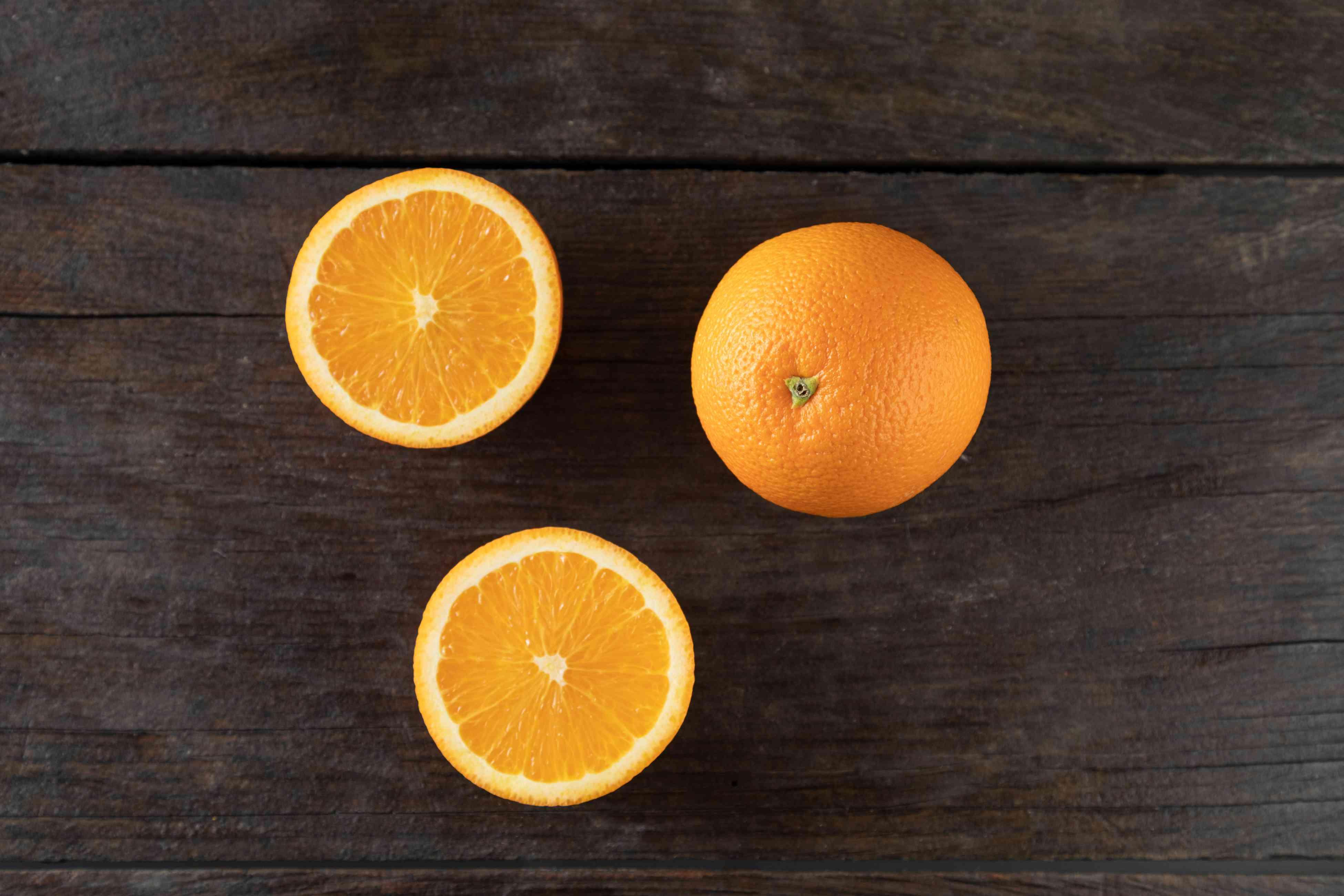 Naval oranges on dark background