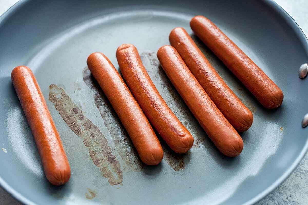 Hot Dogs in the Oven sear the dogs